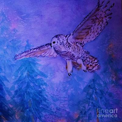 Juvenile Wall Decor Painting - Snowy Owl  - Juvenille - Close Cropped by Ellen Levinson