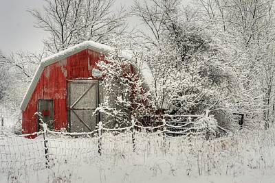 Country Scene Photograph - Snowy Red Barn by Michael Allen