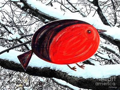 Robin Mixed Media - Snowy Red Robin by Patrick J Murphy
