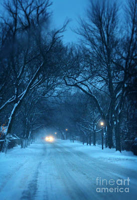Snowy Road On A Winter Evening Print by Jill Battaglia