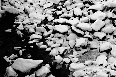 Landscape Photograph - Snowy Rocks In Empty Riverbed by Kerstin Ivarsson