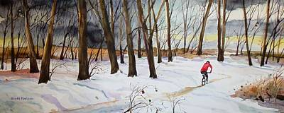 Millbury Painting - Snowy Single Track  by Scott Nelson