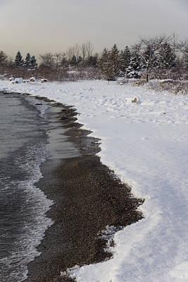 Snowy Winter Beach Patterns - Lake Ontario Toronto Canada Print by Georgia Mizuleva