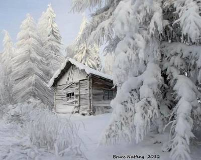 Winter Painting - Snowy Winter Shack by Bruce Nutting
