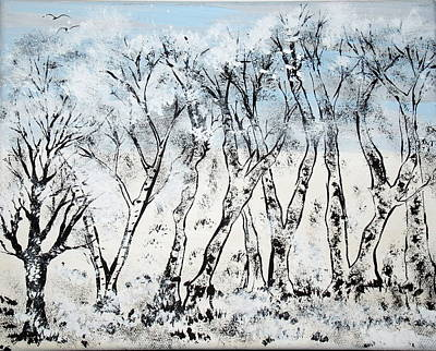 Painting - Snowy Winter Trees by Daniel Nadeau