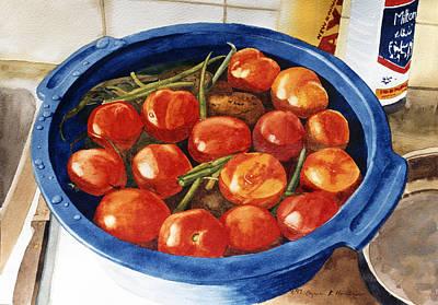 Green Beans Painting - Soaking Tomatoes by Lynn Hansen