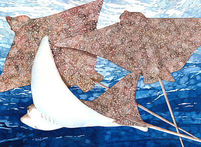 Eagle Ray Painting - Soaring Eagle Rays by Pauline Jacobson