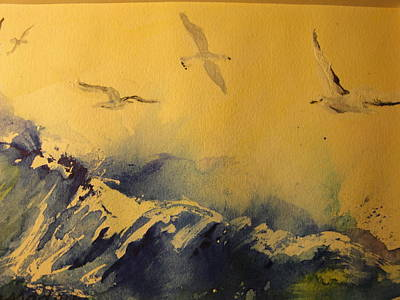 Soaring Painting - Soaring Seaguls by Evelyn Cassaday