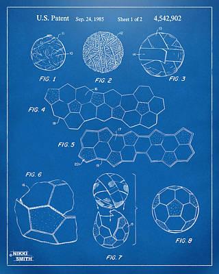 Soccer Ball Construction Artwork - Blueprint Print by Nikki Marie Smith