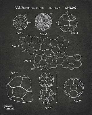 Soccer Ball Construction Artwork - Gray Print by Nikki Marie Smith