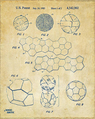 Man Cave Digital Art - Soccer Ball Construction Artwork - Vintage by Nikki Marie Smith