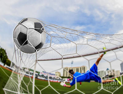 Soccer Ball In Goal  Print by Anek Suwannaphoom