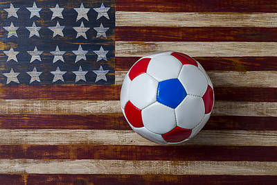 Stitches Photograph - Soccer Ball On American Flag by Garry Gay