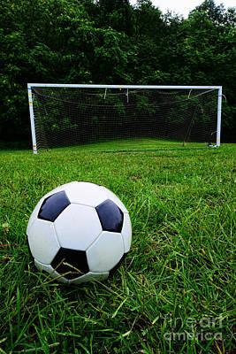 Goalkeeper Photograph - Soccer Ball On Field by Paul Ward