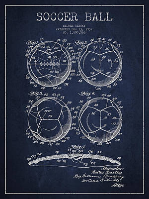 Soccer Ball Patent Drawing From 1932 - Navy Blue Print by Aged Pixel