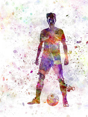 Strength Painting - Soccer Football Player Young Man Standing Defiance  by Pablo Romero