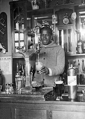 Soccer Star Pours Beer Print by Underwood Archives