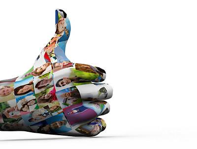 Digital Digital Art - Social Media People Painted Hand In Ok Sign by Michal Bednarek