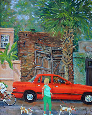 Boykin Spaniel Painting - Society Street Afternoon by Dwain Ray