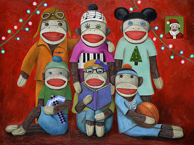 Goggles Painting - Sock Doll Family Portrait  by Leah Saulnier The Painting Maniac