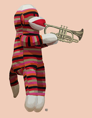 Sock Monkey And Trumpet Print by Kelly McLaughlan