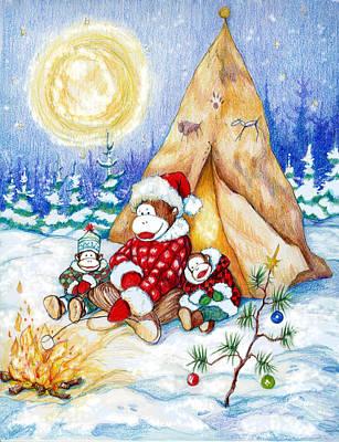 Sock Monkey Family Christmas Print by Peggy Wilson