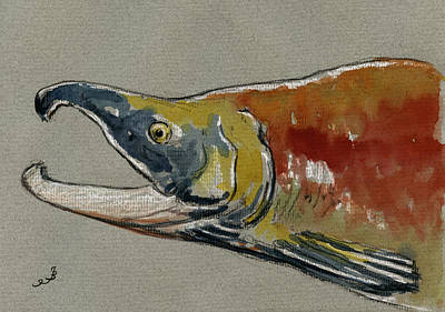 Salmon Painting - Sockeye Salmon Head Study by Juan  Bosco