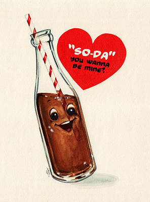 Soda Pop Valentine Print by Kelly Gilleran