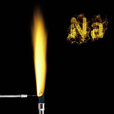 Sodium Flame Test Print by Science Photo Library