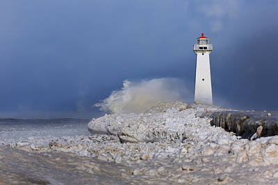 Winter Storm Photograph - Sodus Bay Lighthouse by Everet Regal
