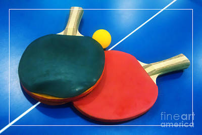 Soft Dreamy Ping-pong Bats Table Tennis Paddles Rackets On Blue Print by Beverly Claire Kaiya