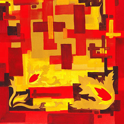 Soft Geometrics Abstract In Red And Yellow Impression I Print by Irina Sztukowski