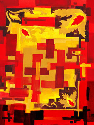 Soft Geometrics Abstract In Red And Yellow Impression Vi Print by Irina Sztukowski