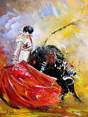 Bullfighter Painting - Softly And Gently by Miki De Goodaboom