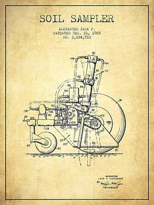 Farmer Digital Art - Soil Sampler Machine Patent From 1965 - Vintage by Aged Pixel
