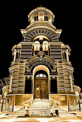 Old Photograph - Solar Gold - Nativity Of Christ Orthodox Cathedral - Riga - Latvia by David Hill