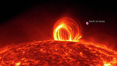 Solar Plasma Loops And Earth To Scale Print by Solar Dynamics Laboratory/nasa