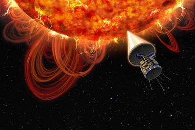 Solar Probe At The Sun, Artwork Print by Science Photo Library