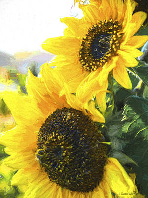 Autumn Painting - Solar Sunflowers by Jo-Anne Gazo-McKim