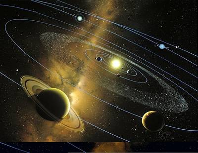 Venusian Photograph - Solar System Orbits, Artwork by Science Photo Library