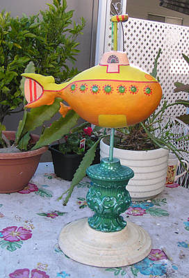 Palmfish Sculpture - sold Yellow Submarine by Dan Townsend