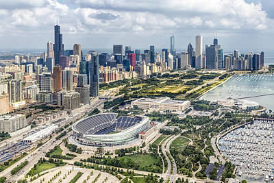 Aerial Photograph - Soldier Field And Chicago Skyline by Adam Romanowicz