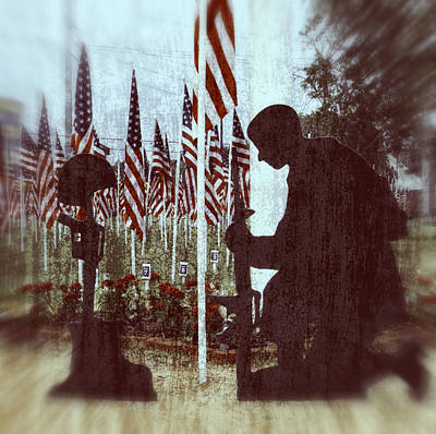 Bayonet Digital Art - Soldier Memorial - Last Roll Call by Ella Kaye Dickey