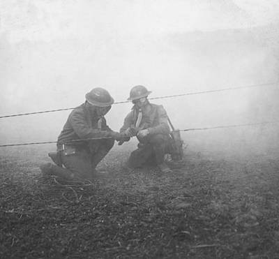 Gas Masks Photograph - Soldiers Repairing Telephone Wire by Ny State Military Museum