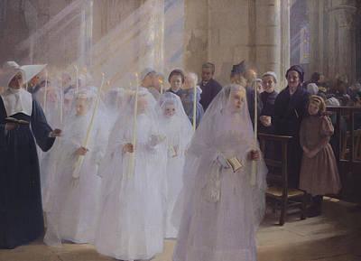 Nuns Painting - Solemn Communion by Jules Triquet