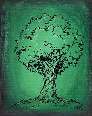 Solitary Tree In Green Print by John Ashton Golden