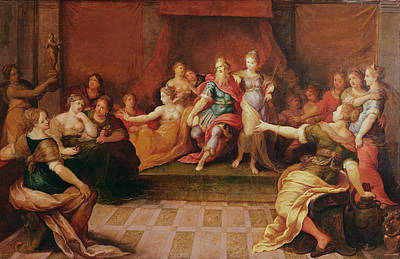 Throne Room Painting - Solomon And His Women  by Frans II the Younger Francken