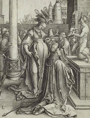 Solomon Prays In Front Of A Graven Image Print by Lucas van Leyden