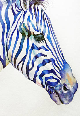 Zebra Painting - Some Days Are Blue_zebra Portrait by Arti Chauhan