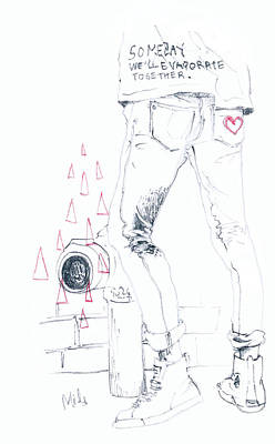 Denim Drawing - Someday We'll Evaporate Together by Mils Gan